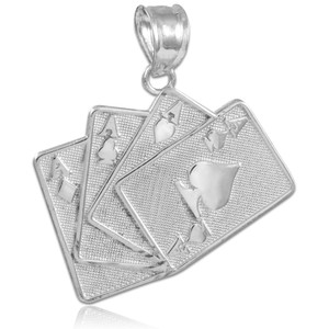 Four of a Kind Playing Cards White Gold Charm Pendant Necklace