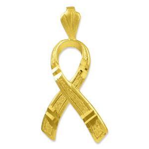 Textured Gold Awareness Ribbon 3D Charm Pendant Necklace