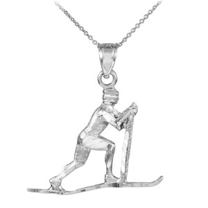 Silver Skier Pendant Necklace