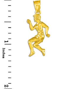 Track Runner Gold Pendant Necklace