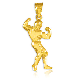 Full Bodybuilder Gold Sports Pendant Necklace