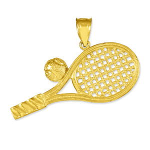 Gold Tennis Racquet and Ball Pendant Necklace
