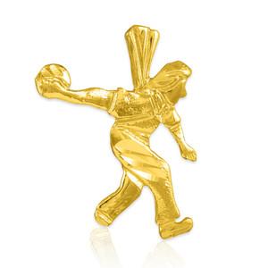 Gold Bowler Charm Sports Pendant