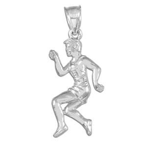 White Gold Track Runner Pendant Necklace
