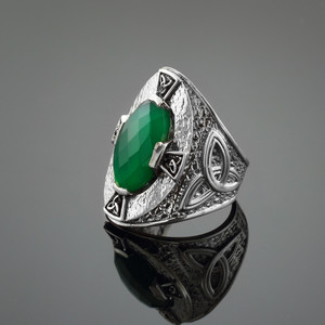 Green Stone Silver Celtic Trinity Ring