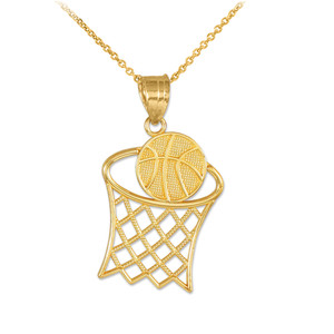 Gold Textured Hoop and Basketball Charm Pendant Necklace