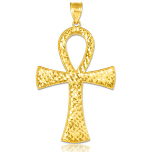 Egyptian Ankh Cross Gold Pendant Necklace