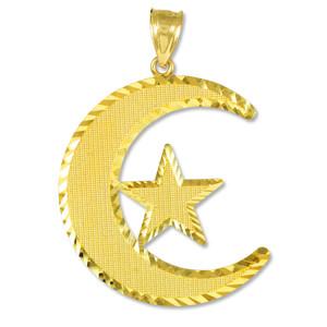 Islamic Crescent Gold Pendant
