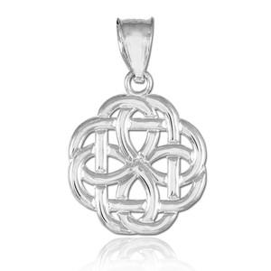 White Gold Triquetra Celtic Trinity Pendant Necklace