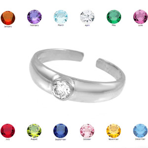 Solid Sterling Silver Birthstone CZ Toe Ring