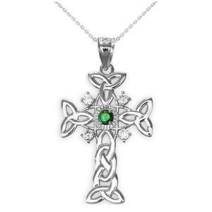 Silver Celtic Knot Trinity Cross Diamond Pendant Necklace with Genuine Emerald