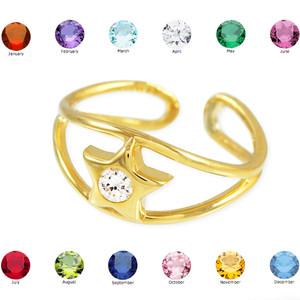 Gold Star Birthstone CZ Toe Ring