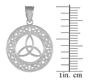 Round Silver Trinity Pendant Necklace