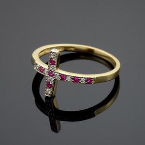 Gold Sideways Cross Red Zirconia Ring