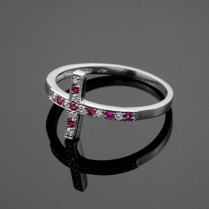 White Gold Diamond Sideways Cross Ring with Rubies