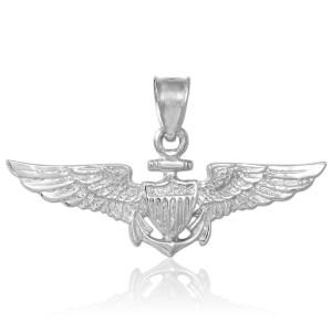 US Naval Aviator Silver Pendant Necklace