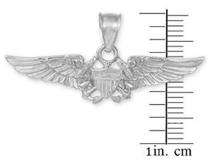 US Aviator Badge White Gold Pendant