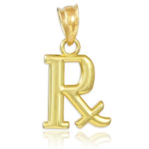 Gold Rx Prescription Symbol Charm Pendant Necklace