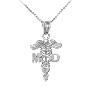 Silver Medical Doctor MD Caduceus Charm Pendant Necklace