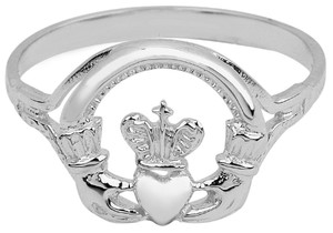 White Gold Claddagh Ring Ladies with Cross