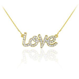 """14K Gold """"Love"""" Diamond Necklace"""