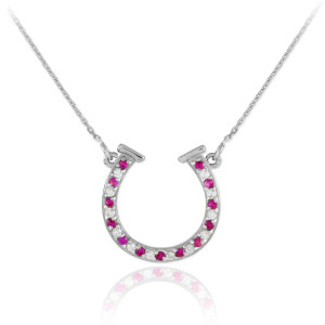 14K White Gold Clear & Red CZ Horseshoe Necklace
