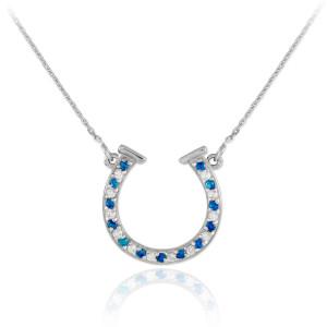 14K White Gold Clear & Blue CZ Horseshoe Necklace