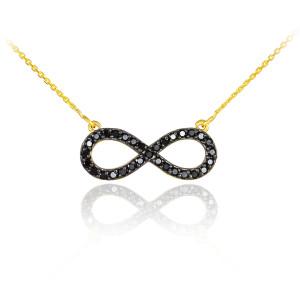 14K Gold Infinity Black CZ Pendant Necklace