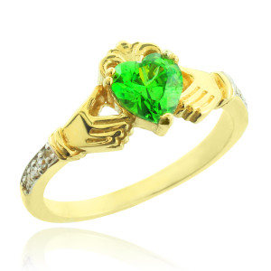 Gold Claddagh CZ Birthstone Ring with Diamonds