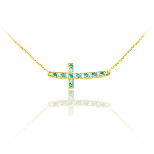 14k Gold Diamond and Emerald Sideways Curved Cross Necklace