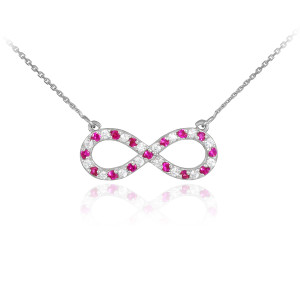 14K White Gold Clear & Red CZ Infinity Necklace