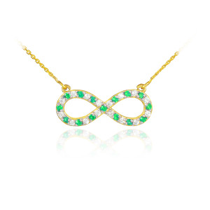 14K Gold Clear & Green CZ Infinity Necklace