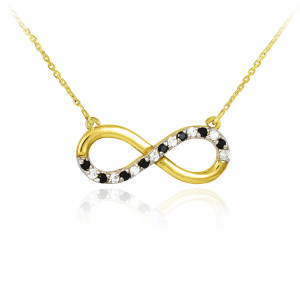 Infinity Pendant 14k Polished Gold  Necklace with Clear & Black Diamonds