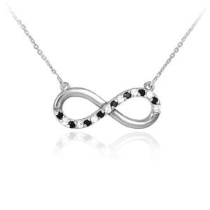 Infinity Pendant 14k Polished White Gold Clear & Black CZ Necklace