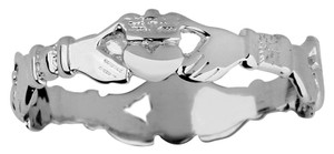 White Gold Claddagh Eternity Ladies Ring