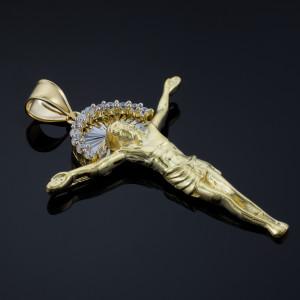 Two-Tone Gold Crucifix CZ Pendant