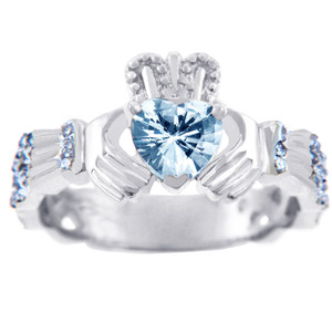 18K White Gold Diamond Claddagh Ring with 0.40 Carats of Diamonds and Aquamarine Birthstone.