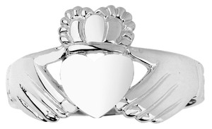 White Gold Irish Claddagh Ring Ladies