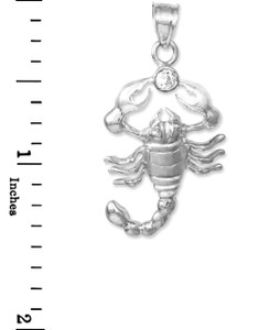 White Gold CZ Scorpion Charm Pendant
