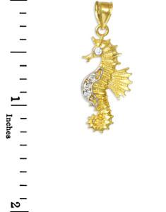 Gold CZ Seahorse Charm Pendant