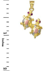 Tri-Color Gold CZ Turtle Charm Pendant