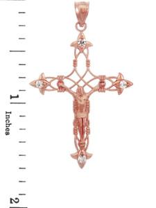 Rose Gold Crucifix Pendant - The Fleur-de-Lis Crucifix