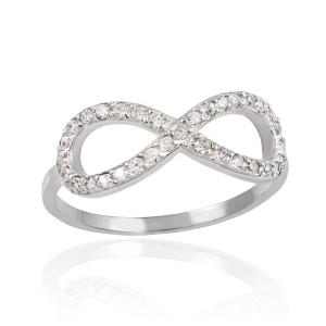 White Gold CZ Infinity Ring