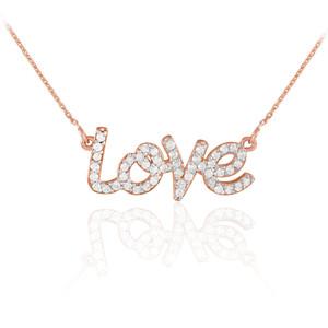 """14K Rose Gold """"Love"""" Diamond Necklace"""
