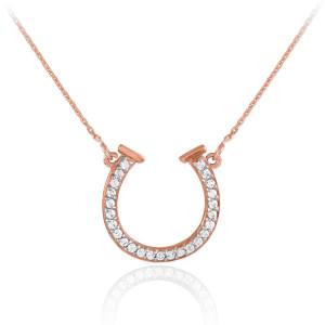 14K Rose Gold CZ Horseshoe Necklace