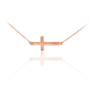 14K Solid Rose Gold Sideways Cross Cute Necklace