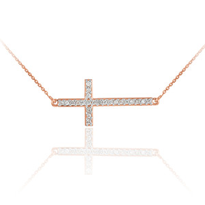 14K Rose Gold Sideways Diamond Cross Pendant Necklace