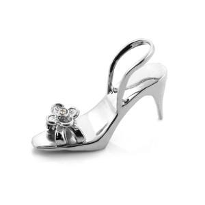 White Gold 3D Shoe CZ Pendant