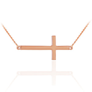 14K Solid Rose Gold Sideways Cross Necklace