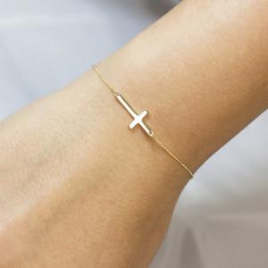 14K Solid Gold Sideways Cross Cute Bracelet